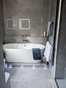 Bathroom large format porcelain tiles