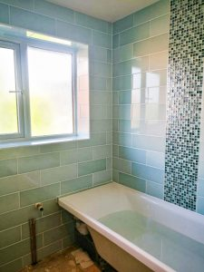 Bathroom walls ceramic tiling